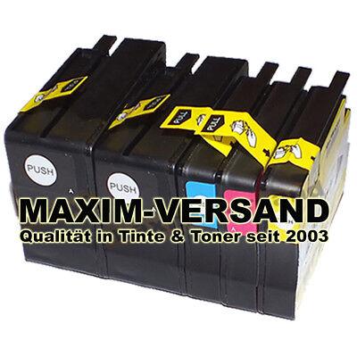 Format Tinte Gelb (5x Tinten-Patronen Set für HP Officejet 6700 7110 7610 Wide Format kein Original)