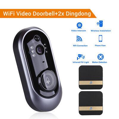 Visual Intercom (WiFi Wireless Türklingel Visual HD Überwachungskamera Intercom + 2x Dingdong)