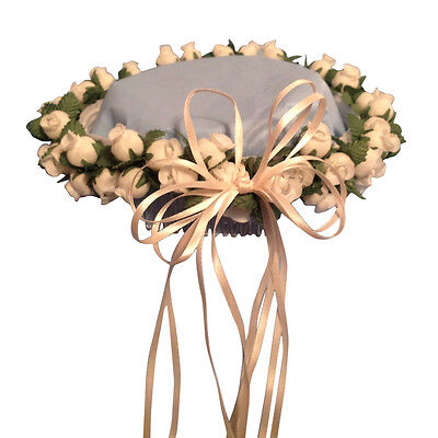 Ivory Flower Girl Headpiece (Ivory Silk Poly Rose Halo Flower Girl Head Piece Band with Green)
