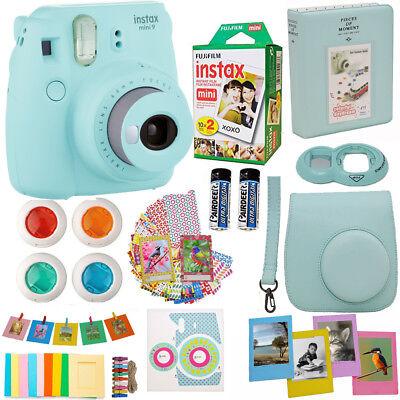 Fujifilm Instax Mini 9 Instant Camera Ice Blue + 20 Sheet Fuji Film Acc Bundle for sale  Shipping to Canada