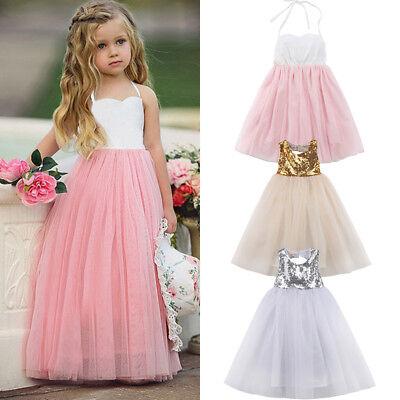 Girls Long Gown (Flower Girls Long Dress Kids Princess Party Wedding Bridesmaid Formal Ball)