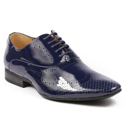 Perforated Wing Tip - Navy Blue Patent Men's Perforated Wing Tip Lace Up Oxford Dress Shoes