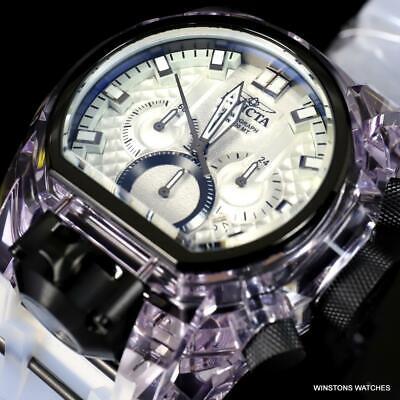 Invicta Bolt Zeus Magnum Anatomic Dual Dial Chronograph Silicone White Watch New
