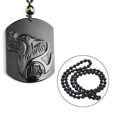 Natural Handwork Carved Black Obsidian Wolf Head Lucky Pendant w/Beads Necklace - Wolf Pendant