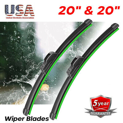 20  20 WINDSHIELD WIPER BLADES Car Front OEM BRACKETLESS Premium ALL SEASON