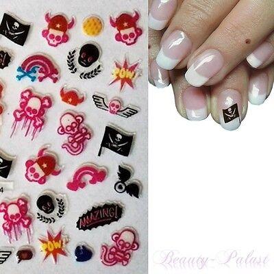 Nagel Sticker Halloween Nailart Tattoo Aufkleber 3D Design Totenkopf YGA144 ()
