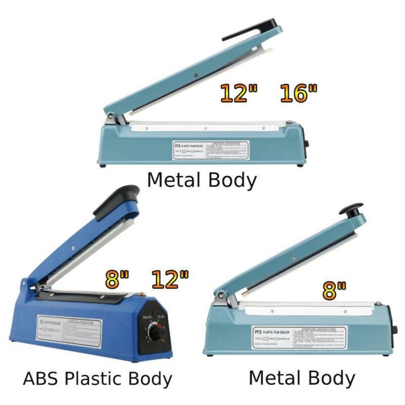 "8"" 12"" 16"" Hand Impulse Heat Sealer Plastic Bag Film Sealing Machine Metal ABS"