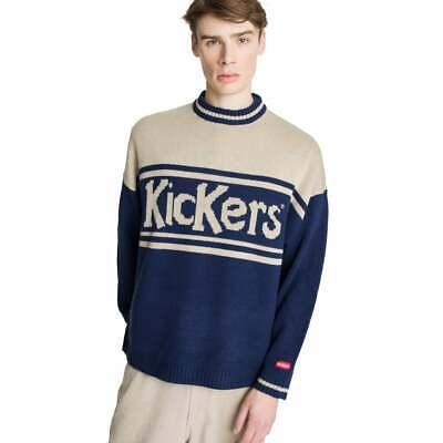 Mens Kickers Large Logo Knitted Navy/Beige Jumper (KA2) £59.99