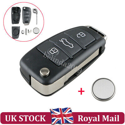For AUDI A3 A4 A6 Q7 TT 3 Button Remote Key Fob Case Repair Kit + Battery CR2032