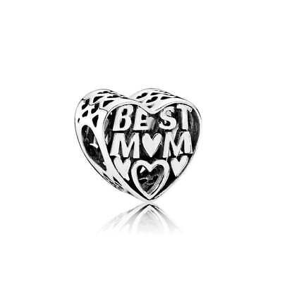 Authentic Sterling Silver Pandora Best Mom Charm Heart Bead  #791882