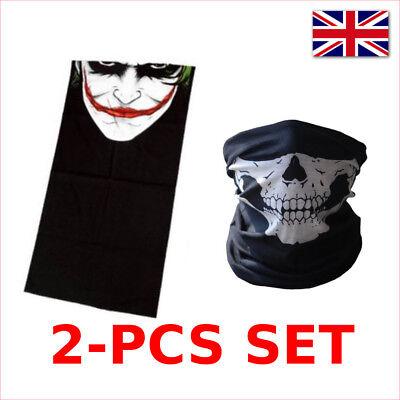 Gesichtsmaske 2pcs Schädel der Joker Maske Skelett Halloween Bike (Schwarze Joker Kostüm)