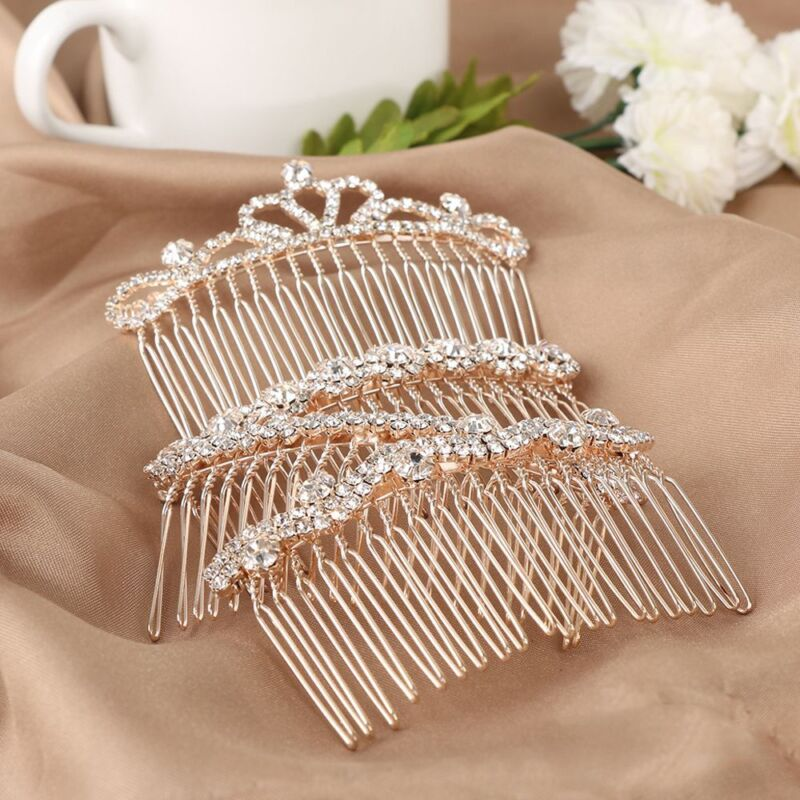Love Shaped Crystal Hair Combs Crown Butterfly Hairpins Rhinestone Hair Clips