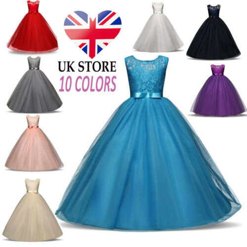 Kids Girls Lace Flower Bridesmaid Maxi Long Dress Party Princess Prom Wedding .