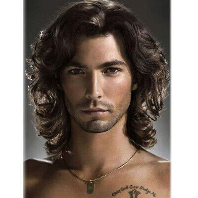 Fashion Short Curly Wigs For Men Handsome Male Wig Dark Black Brown Hair Wig - Wigs For Black Men Curly