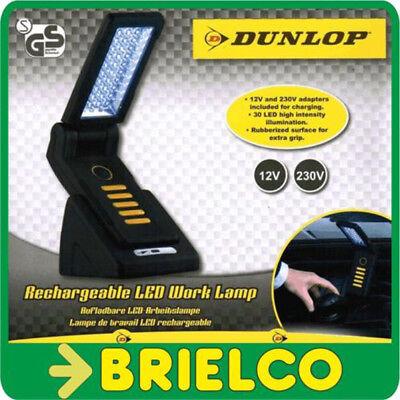 LAMPARA 30 LEDS RECARGABLE IMANTADA INCLUYE ALIMENTADOR 12V 230V DUNLOP BD5543