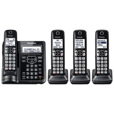 Panasonic Cordless Phone System w/ 4 Handsets & Digital Answering Machine, Black