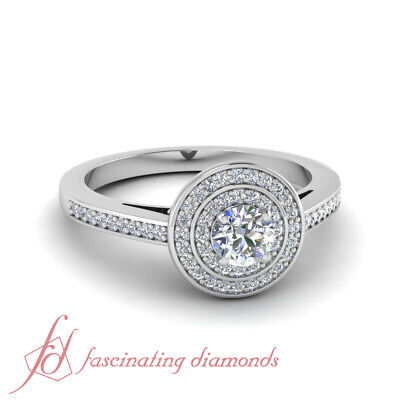 1/2 carat round diamond double halo engagement rings for wom