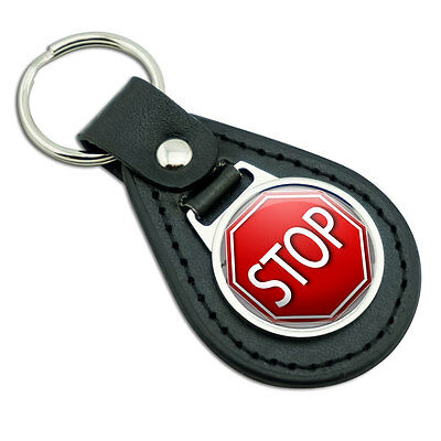 Stop Sign Stylized Red Grey Black Leather Metal Keychain Key Ring