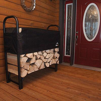 Firewood Rack With Cover Storage Shelterlogic Steel Outdoor Wood Log Holder 4 ft