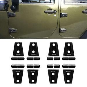 8x Black Door Hinge Cover Trim ABS Fit 2007-2017 Jeep Wrangler JK Unlimited 4DR