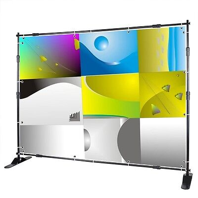 8x8' Telescopic Banner Stand Adjustable Display Trade Show Expandable Backdrop on Rummage