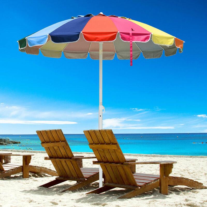 Rainbow Beach Umbrella Patio Outdoor Sunshade UV Resist 16 Ribs Tilt Market 6 ft