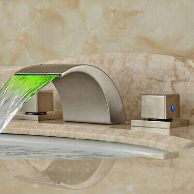 Klassische Wasserfall (Wasserfall LED  bürstete Nickel Badezimmerhahn Badezimmerwannehahn bassinhahn )