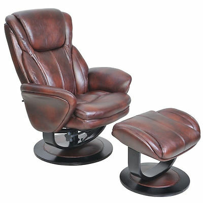 Barcalounger Roma Salon-saddle Soft MicroFiber Faux Leather Recliner and Ottoman