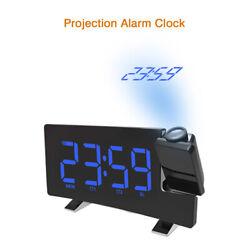 LED Projection Alarm Clock Snooze Temperature Voice Talking Calendar Backlight