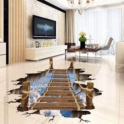 3D Wood Bridge Floor Sticker Removable Mural Decals Art Livi