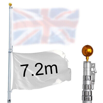 25ft/7.2m Heavy Duty Telescopic Flag Pole Aluminum Flagpole Top Gold Ball Kit