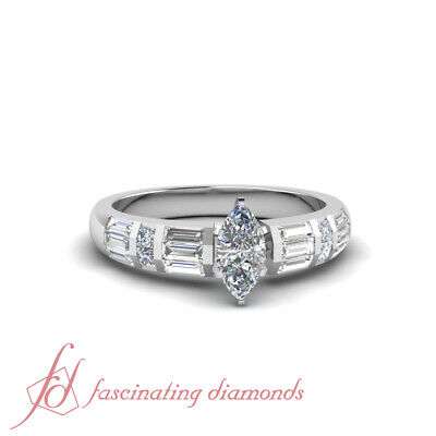 1.25 Ct Marquise Cut VS1 Diamond Channel Engagement Rings Sets For Women 14K GIA