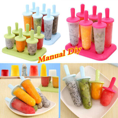UK 6pcs Pack Ice Lolly Cream Maker Mold DIY Popsicle Mould Frozen Yogurt Icebox