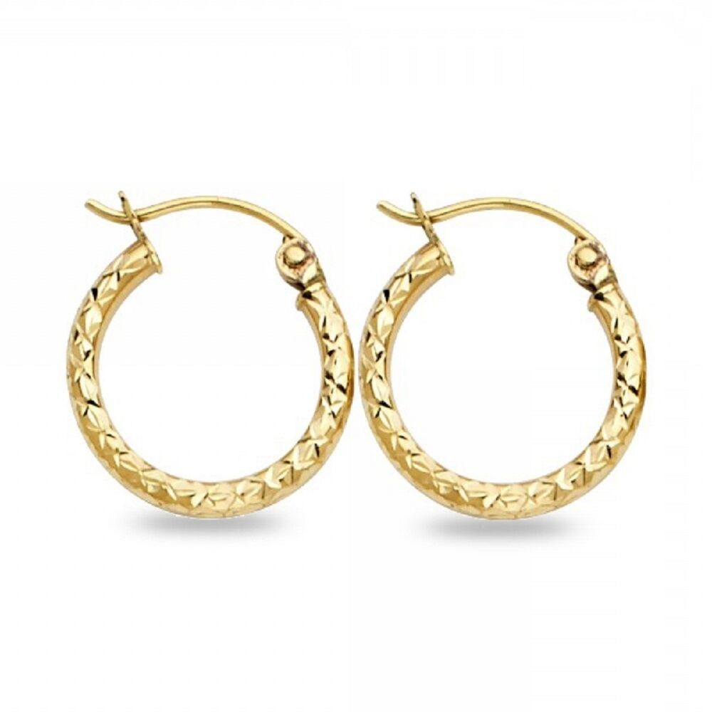 Details About Small Round Hoops 14k Yellow Gold Earrings Diamond Cut Design French Lock