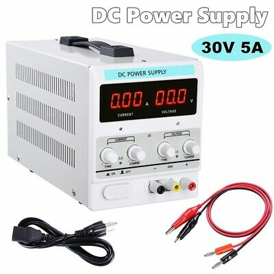 Power Supply 30v 5a 110v Precision Variable Dc Digital Adjustable Lab Wclip