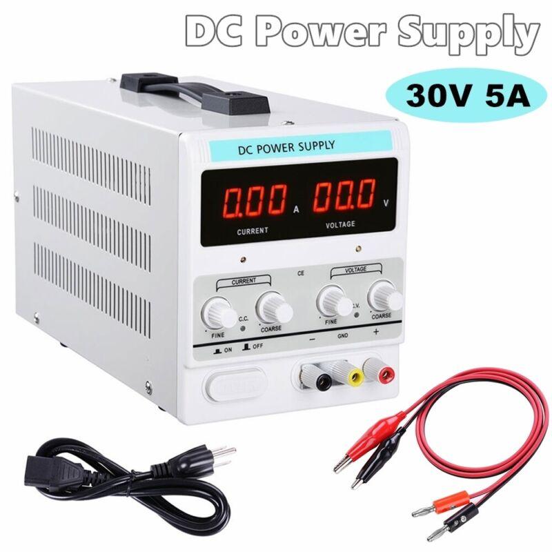 Power Supply 30V 5A 110V Precision Variable DC Digital Adjustable Lab w/clip