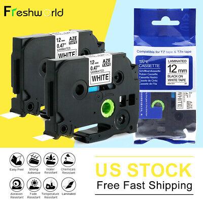 2pk Tze231 Tz231 12mm For Brother P-touch Label Maker Tape Pt-d210 Pt-1280 White