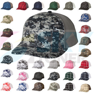 New! Richardson Camo Patterned Trucker Ball Cap Meshback Hat Snapback Cap 112P
