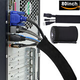 80'' TV PC Cord Wire Cover Cable Management Organizer Neoprene Hider Sleeve USA