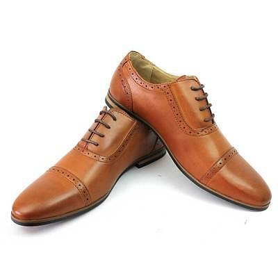 New Men's Brown Cognac Cap Toe Dress Shoes Lace Up Detailed Oxfords By AZAR MAN