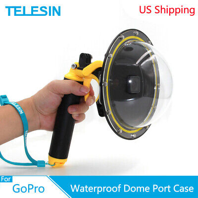 TELESIN 6'' Waterproof Dome Port + Floaty Hand Grip Trigger for GoPro Hero 7 6 5