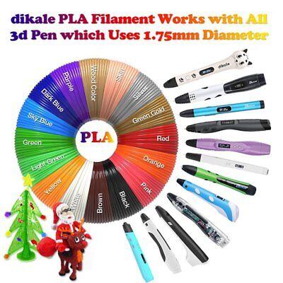 PLA 3D Printer Pen Filament (1.75mm) Packs - 20 Colors, 10m Each (200m Total) WU