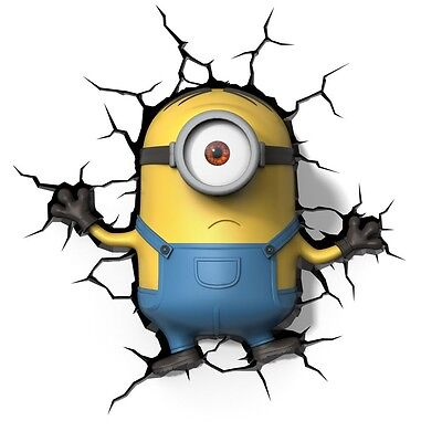 Despicable Me MINIONS ~ Minion Stuart 3D Deco Wall LED Night Light FX Room Decor