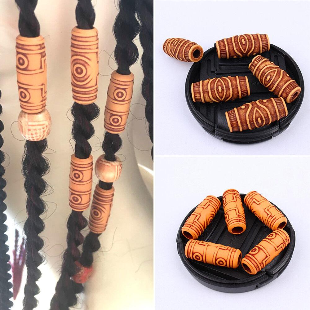 10x Damen Dreadlock Flechten Haar-Perlen Ringe Manschette Tibetisch Haarschmuck