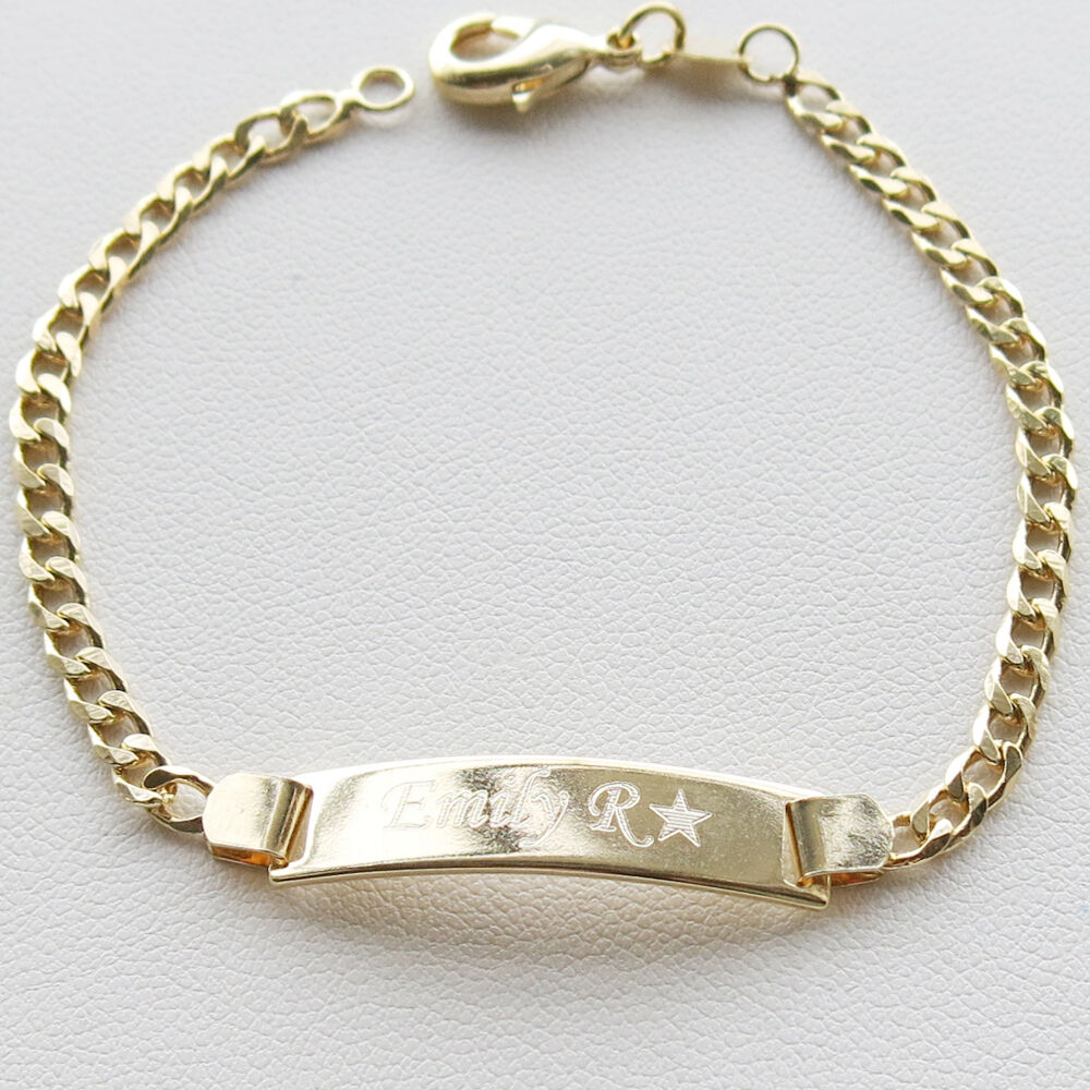 Personalized18K Gold Filled Baby ID Bracelet Free Engraving 6/' adjustable