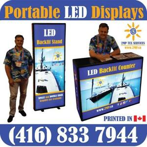 ANY Portable LED Light Box Displays Stands Trade Show Wall Marketing Event Counter Stand + Custom GRAPHICS by www.2MP.ca