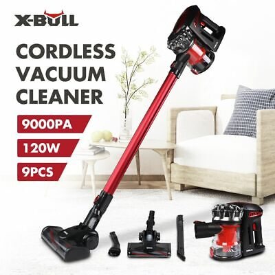 X-BULL 2-in-1 120W Cordless Vacuum Cleaner 9000PA Suction Brush Tool Red 9PCS