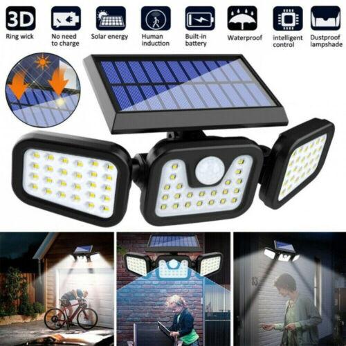 Solar Security Lights 3 Head 6000LM Motion Sensor Lights Adjustable Flood Light