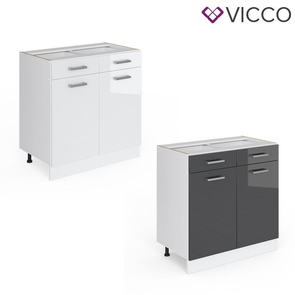 VICCO Schubunterschrank 80 cm Küchenzeile Unterschrank R-Line