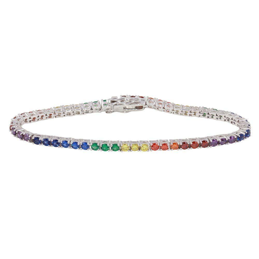 Womens 925 Sterling Silver Rainbow Multicolored CZ Tennis Bracelet